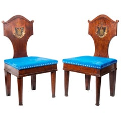 Pair of Late 18th Century Mahogany Hall Chairs