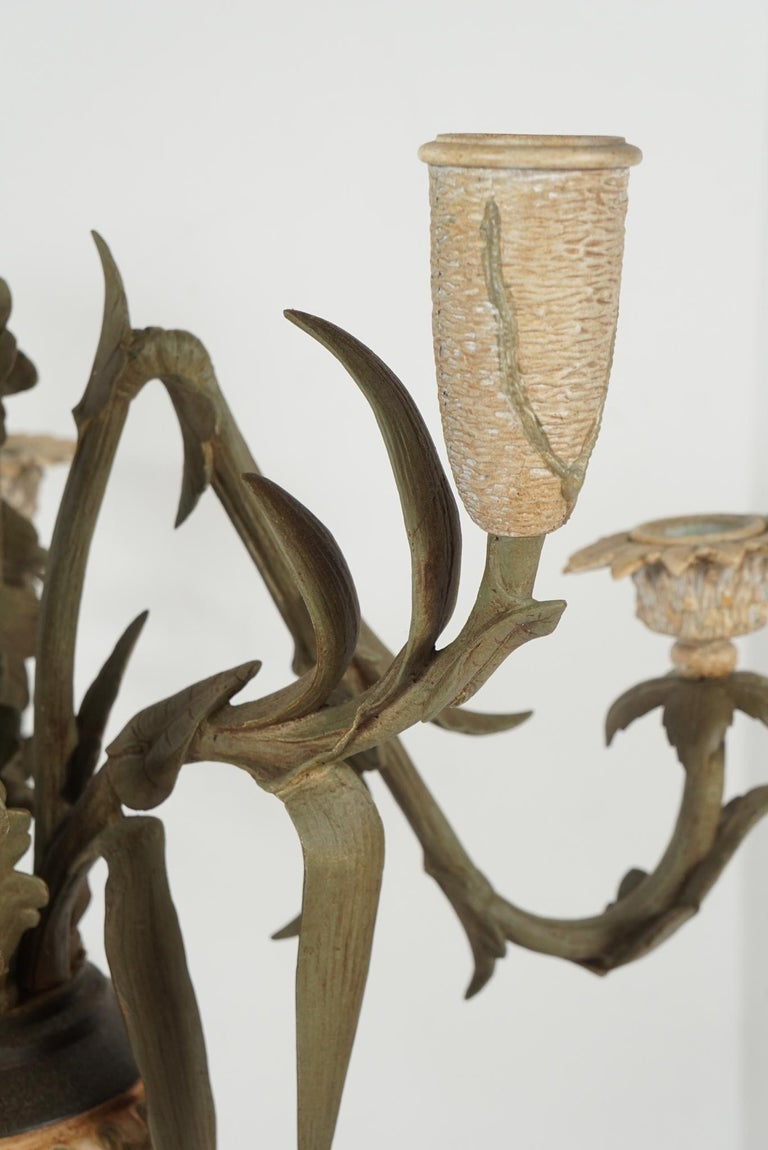 Cast Late 19th Century French Tole Painted Bronze Urn & Flower Form Candelabra, Pair For Sale