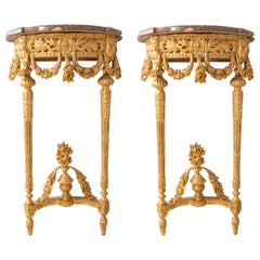Pair of Late 19th Century French Gilded Console Tables