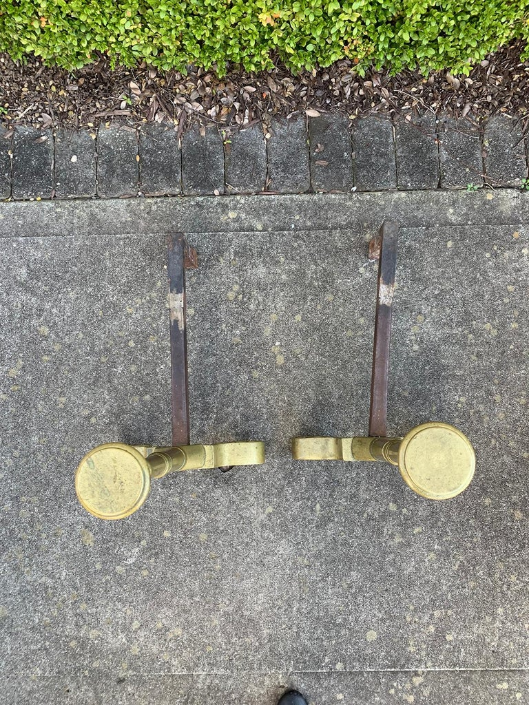 Pair Late 19th-Early 20th Century Brass Andirons For Sale 6