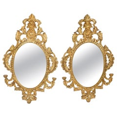 Pair Late 20th Century Giltwood Framed Hanging Wall Mirror