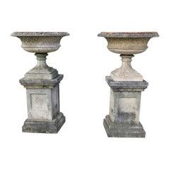 Pair Lattice Design Garden Urns on Plinths, England, 1930s