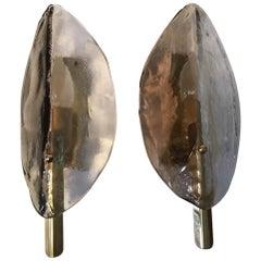 Pair Leaf Brass Murano Glass Sconces from Austria 1970s by J.T. Kalmar