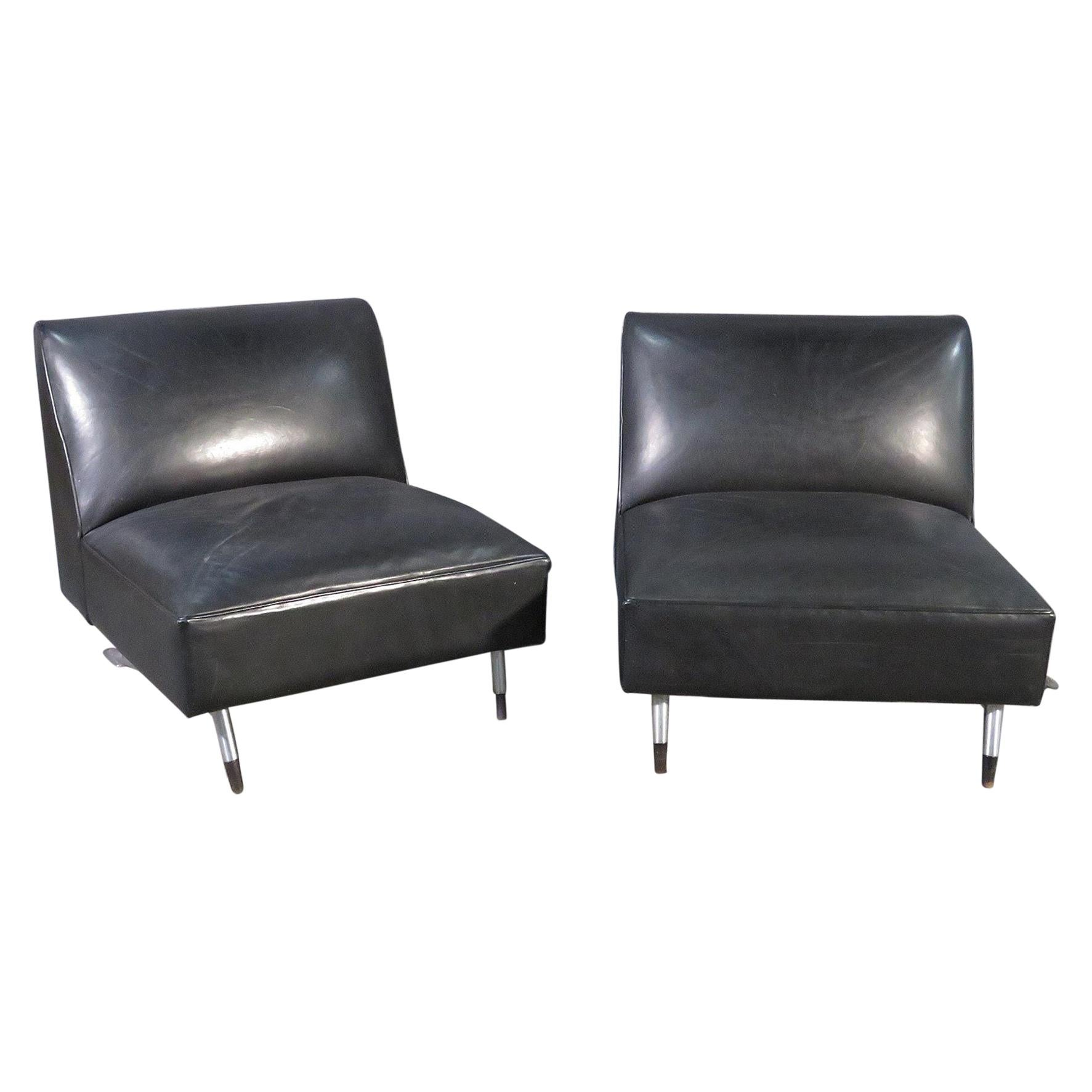 Pair of Leather Slipper Chairs
