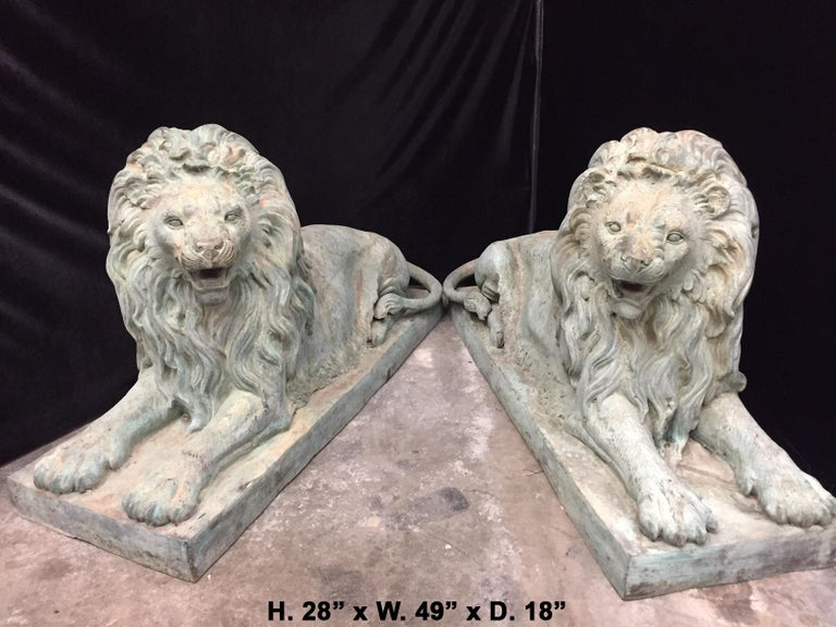 Patinated Pair Lifesize Bronze Lions Signed Alex Browns For Sale