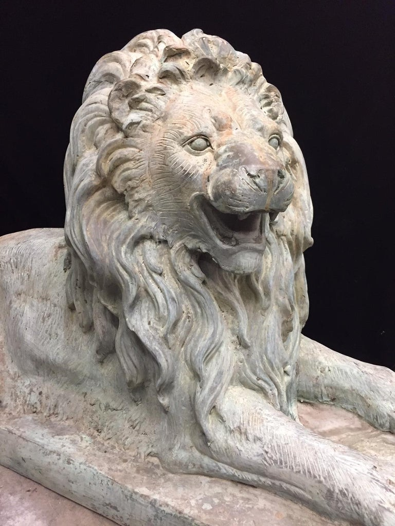 20th Century Pair Lifesize Bronze Lions Signed Alex Browns For Sale