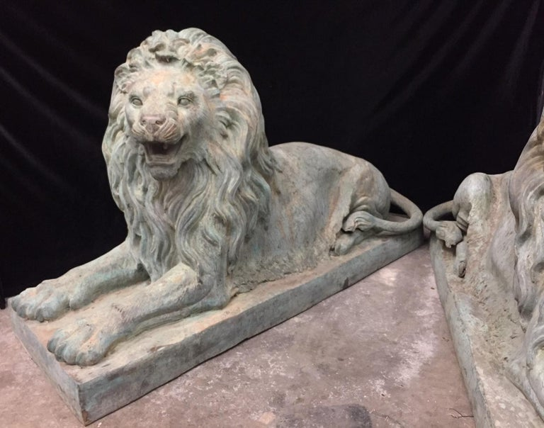 Pair Lifesize Bronze Lions Signed Alex Browns For Sale 1