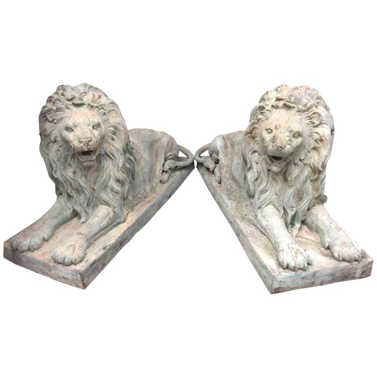 Pair Lifesize Bronze Lions Signed Alex Browns For Sale