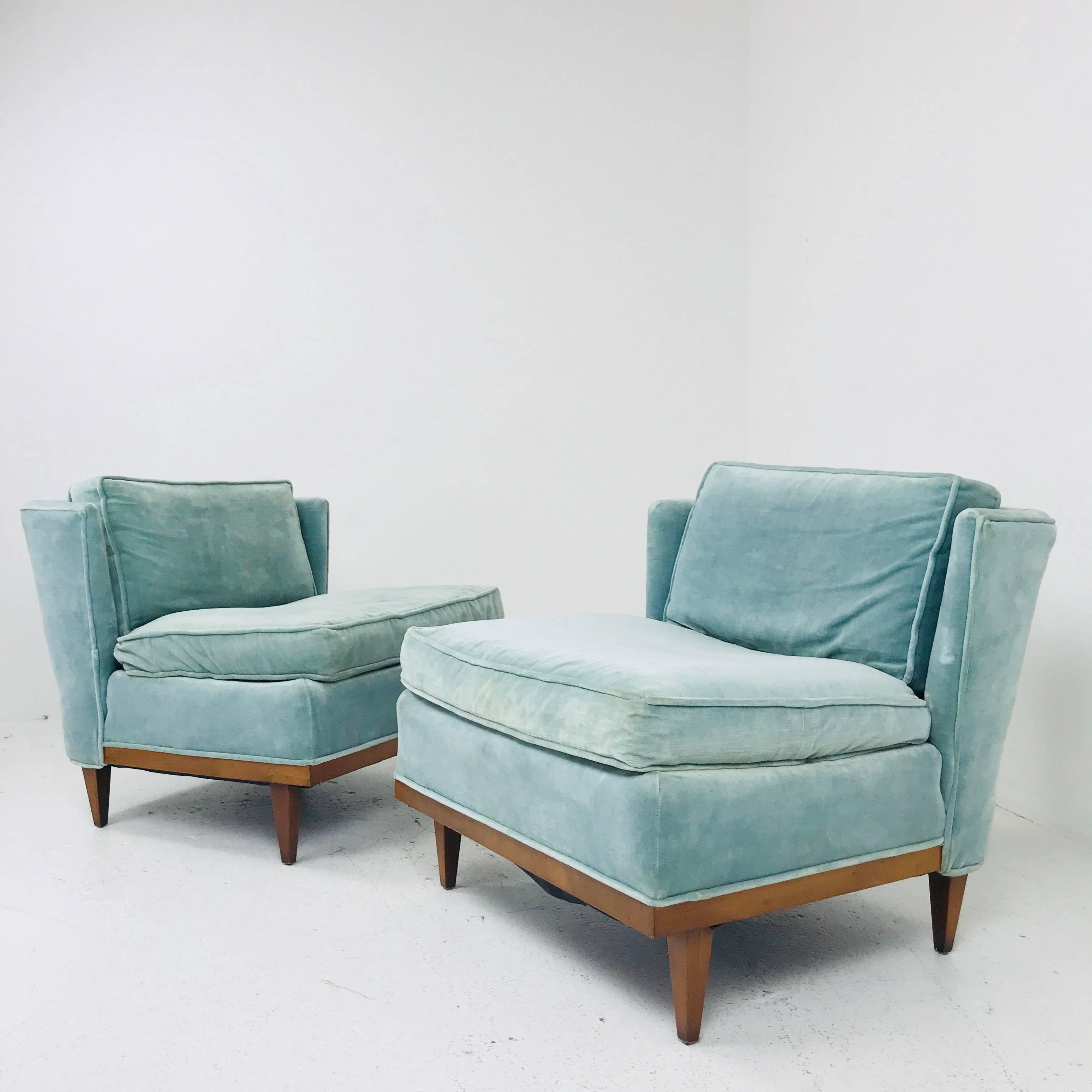 Pair Of Light Blue Midcentury Velvet Slipper Wingback Chairs