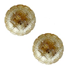 Pair of MidCentury Limburg Waffle Glass Mirror Vanity Sconces,  1960s