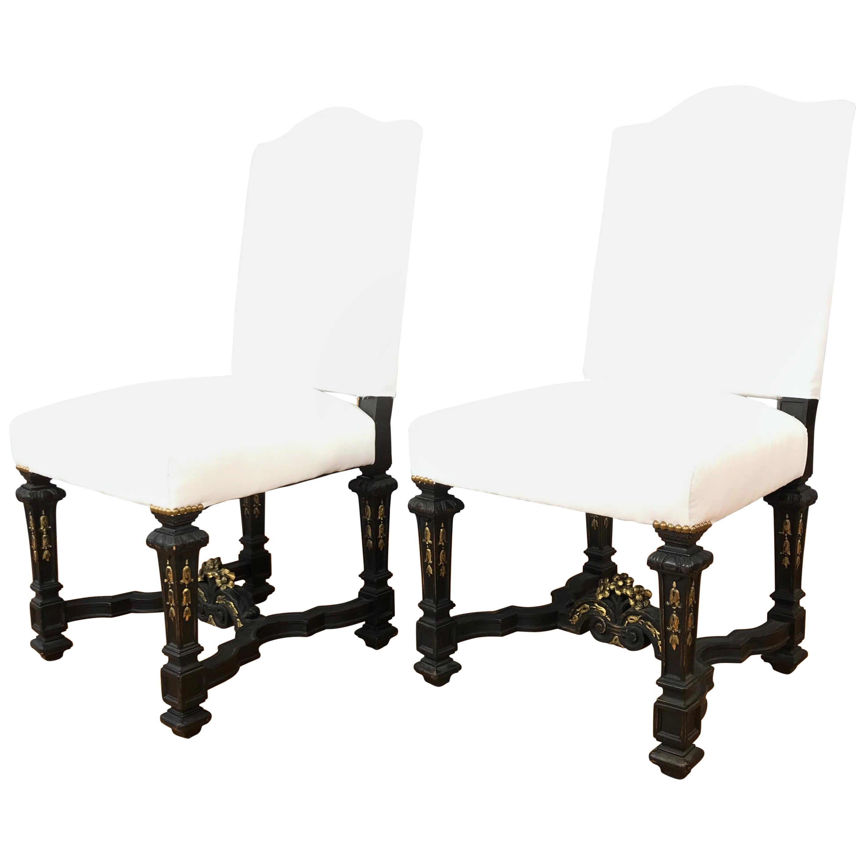 Pair of Louis XIV Chairs, Back Base Muslin Upholstery