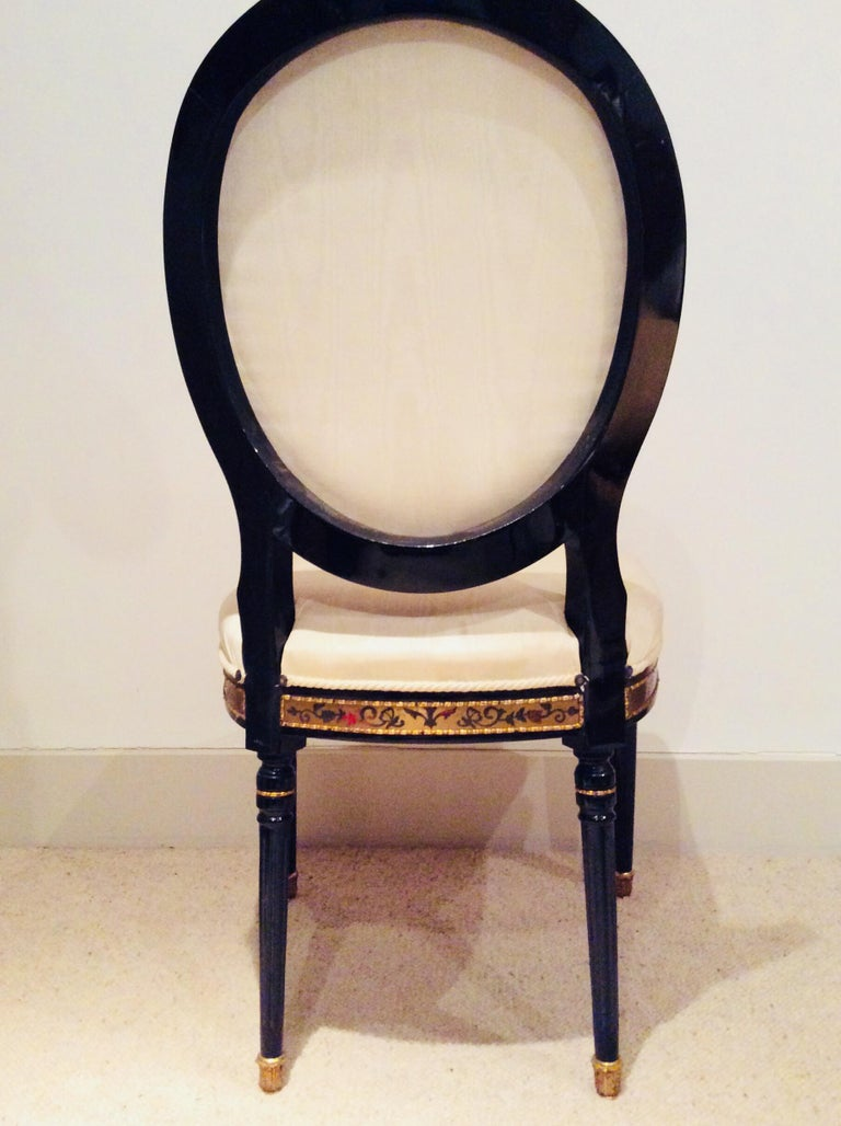 Ebonized Pair of Louis XIV style Ebonised Side Chairs For Sale