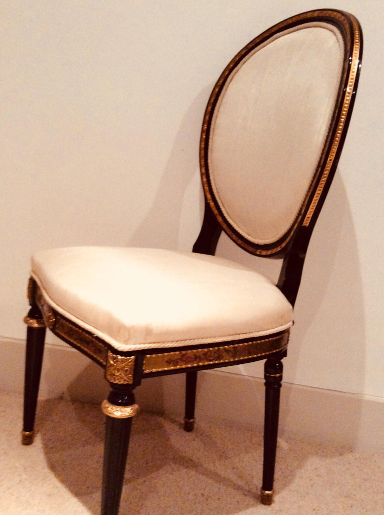 Pair of Louis XIV style Ebonised Side Chairs In Good Condition For Sale In Cranbrook, Kent