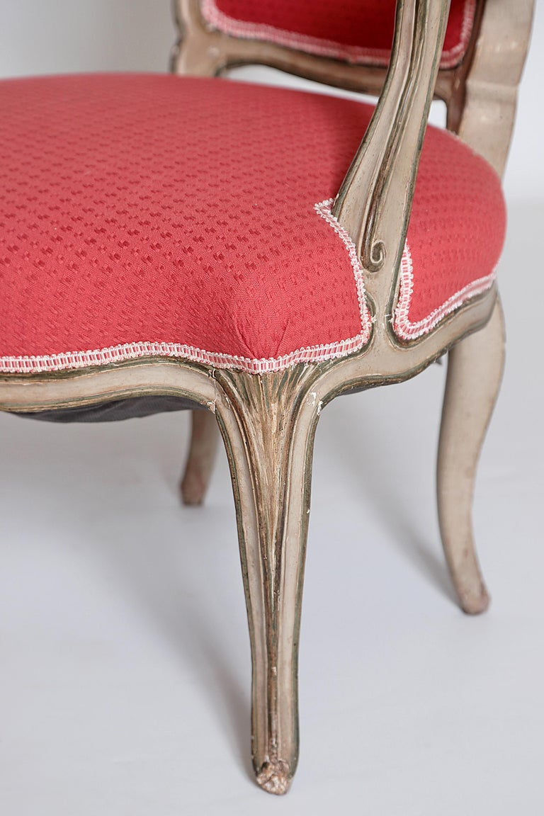 Pair of Louis XV Painted Fauteuils For Sale 3