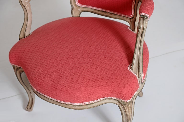 Pair of Louis XV Painted Fauteuils For Sale 4