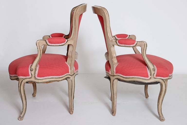 French Pair of Louis XV Painted Fauteuils For Sale