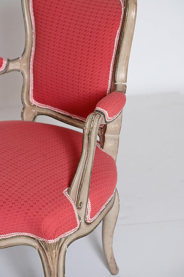 Pair of Louis XV Painted Fauteuils For Sale 1