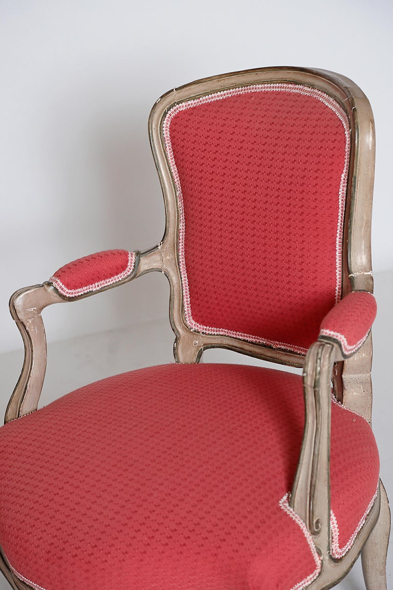 Pair of Louis XV Painted Fauteuils For Sale 2