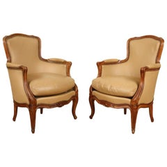 Pair of Louis XV Style Cherry Bergere Chairs Recently Reupholstered in Leather