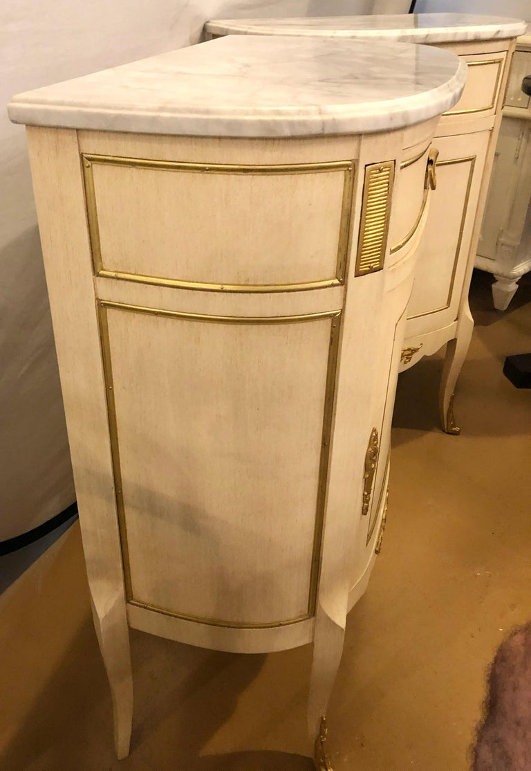 Louis XV Style Demilune Painted & Bronze Mounted End Tables or Nightstands, Pair For Sale 9