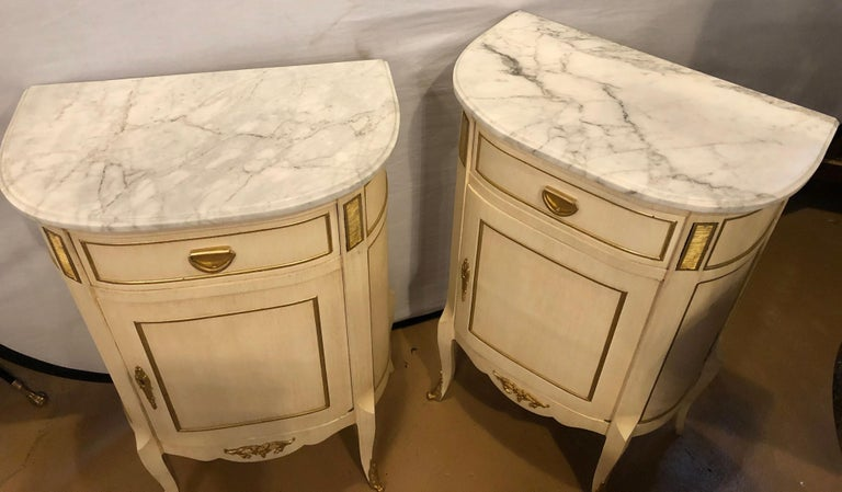 20th Century Louis XV Style Demilune Painted & Bronze Mounted End Tables or Nightstands, Pair For Sale