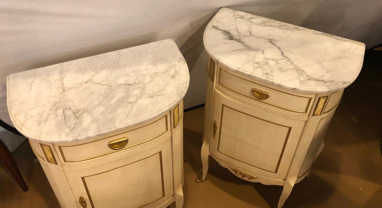 Marble Louis XV Style Demilune Painted & Bronze Mounted End Tables or Nightstands, Pair For Sale