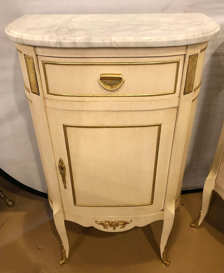 Louis XV Style Demilune Painted & Bronze Mounted End Tables or Nightstands, Pair For Sale 1