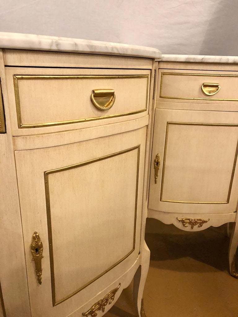 Louis XV Style Demilune Painted & Bronze Mounted End Tables or Nightstands, Pair For Sale 2