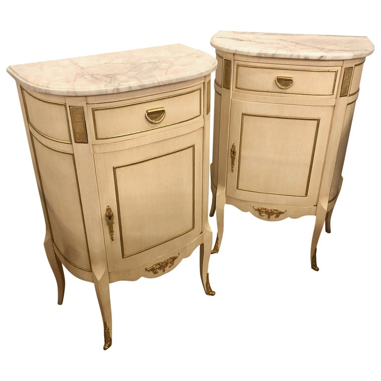 Louis XV Style Demilune Painted & Bronze Mounted End Tables or Nightstands, Pair For Sale