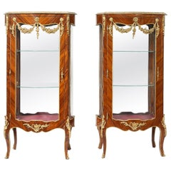 Pair Louis XV Style Kingwood Veneered Vitrine