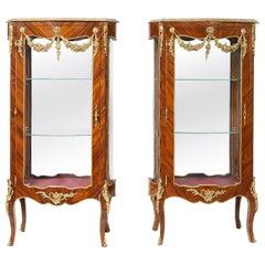 Pair of Louis XV Style Kingwood Veneered Vitrine