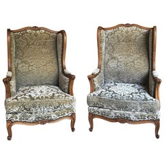 Pair Louis XV Wingback Armchairs, Bergeres
