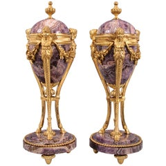 Pair of Louis XVI Amethyst and Gilt Bronze Cassolettes