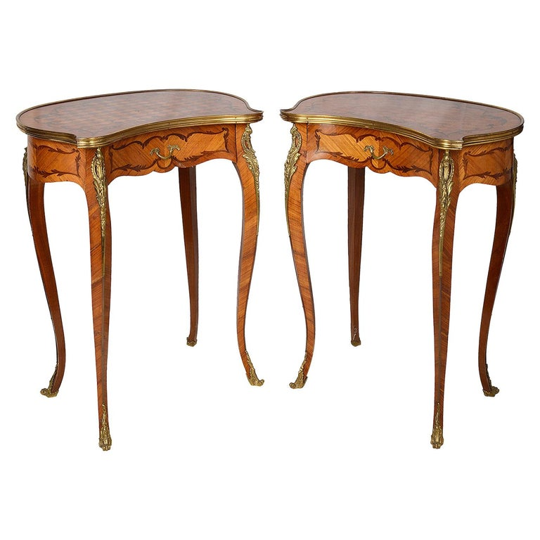 Pair of Louis XVI Inlaid Side Tables, circa 1900 For Sale
