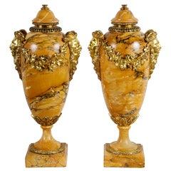 Pair of Louis XVI Sienna Marble Vases