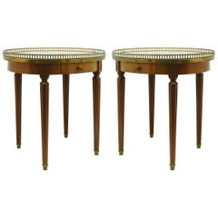 Pair of Louis XVI Style Bouillotte Tables Brass Marble Early 20th Century