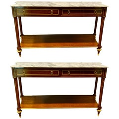 Pair of Louis XVI Style Bronze Mounted Marble-Top Console Tables, Inverted Sides