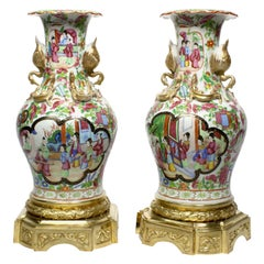 Pair Louis XVI Style Chinese-Export Ormolu Mounted Famille Rose Porcelain Vases
