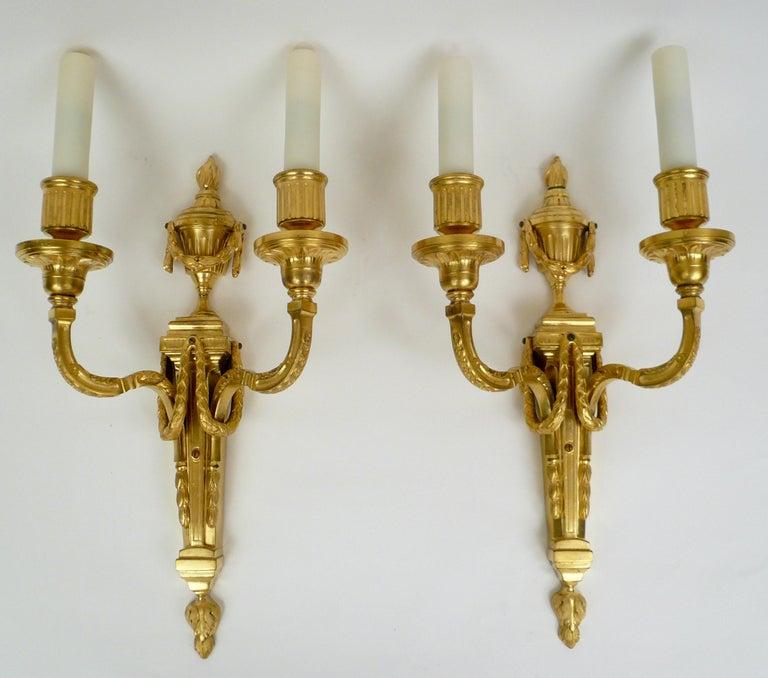 Pair Louis XVI Style Gilt Bronze Sconces by E. F. Caldwell For Sale 5