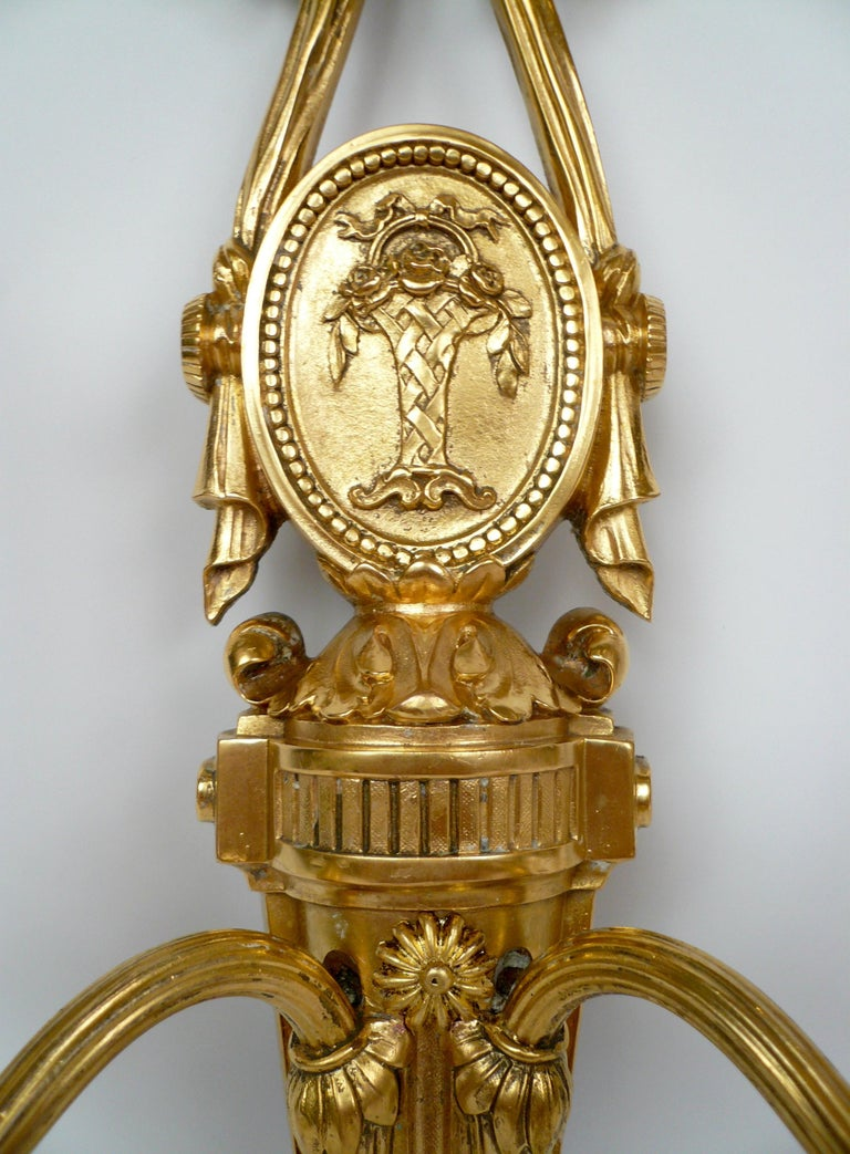 Pair Louis XVI Style Gilt Bronze Sconces by E. F. Caldwell In Good Condition For Sale In Pittsburgh, PA