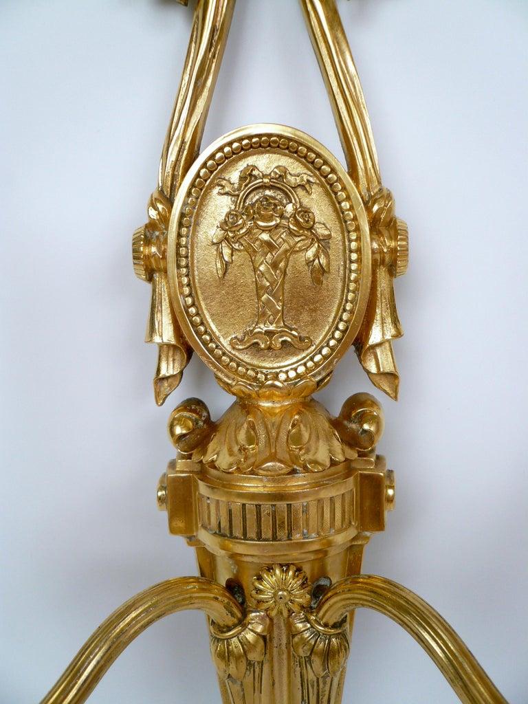 Pair Louis XVI Style Gilt Bronze Sconces by E. F. Caldwell For Sale 1