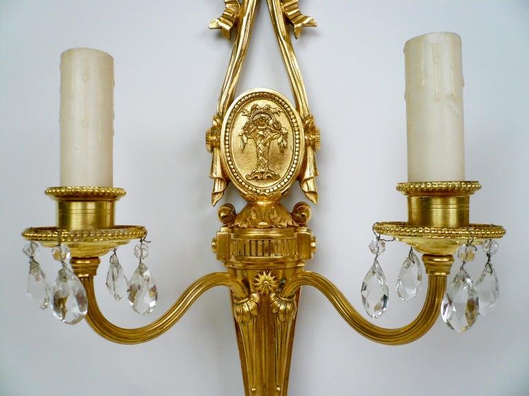 Pair Louis XVI Style Gilt Bronze Sconces by E. F. Caldwell For Sale 4