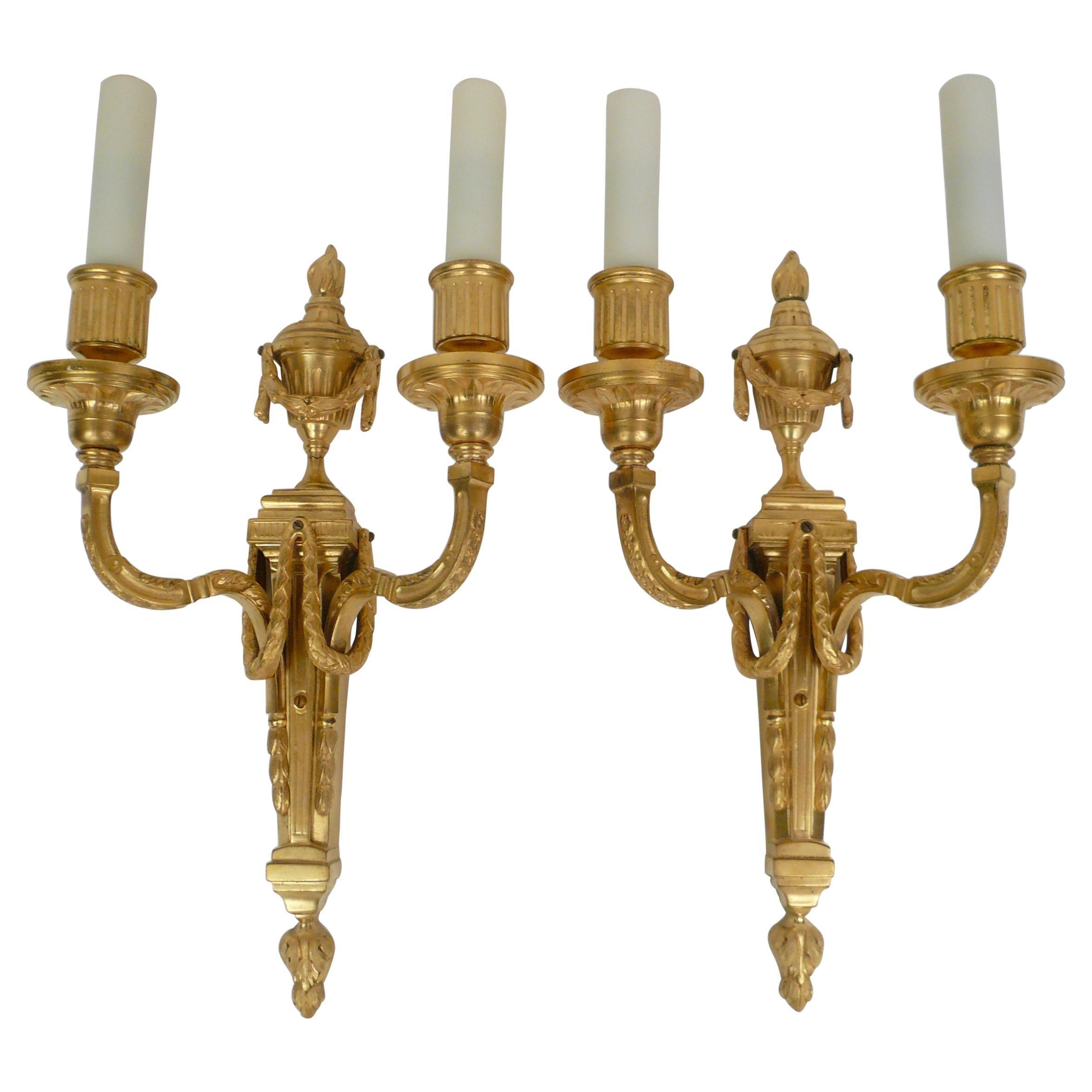 Pair Louis XVI Style Gilt Bronze Sconces by E. F. Caldwell