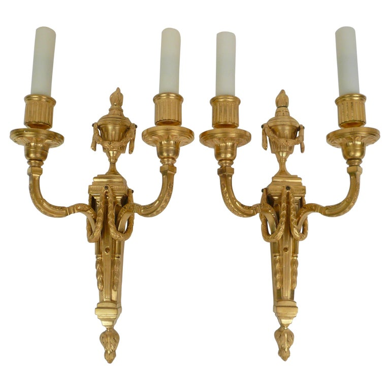Pair Louis XVI Style Gilt Bronze Sconces by E. F. Caldwell For Sale