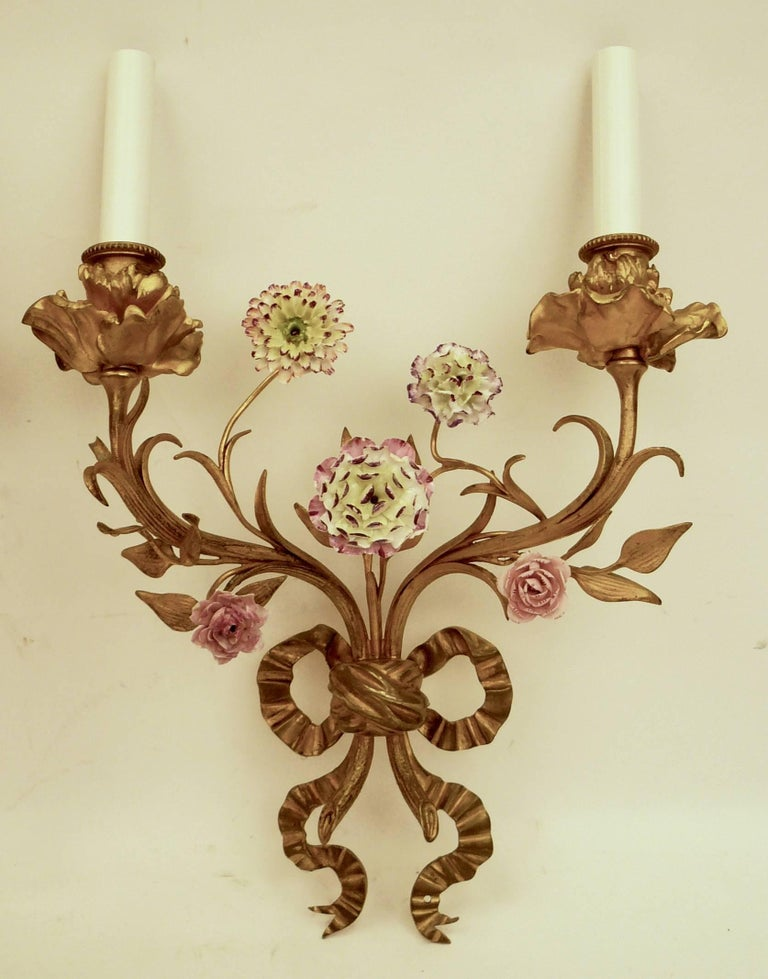 French Pair of Louis XVI Style Gilt Bronze Sconces with Porcelain Flowers For Sale