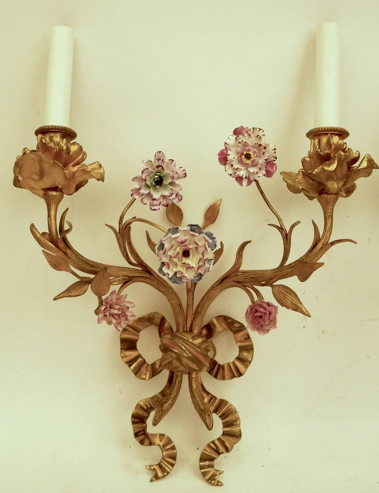 Pair of Louis XVI Style Gilt Bronze Sconces with Porcelain Flowers In Excellent Condition For Sale In Pittsburgh, PA