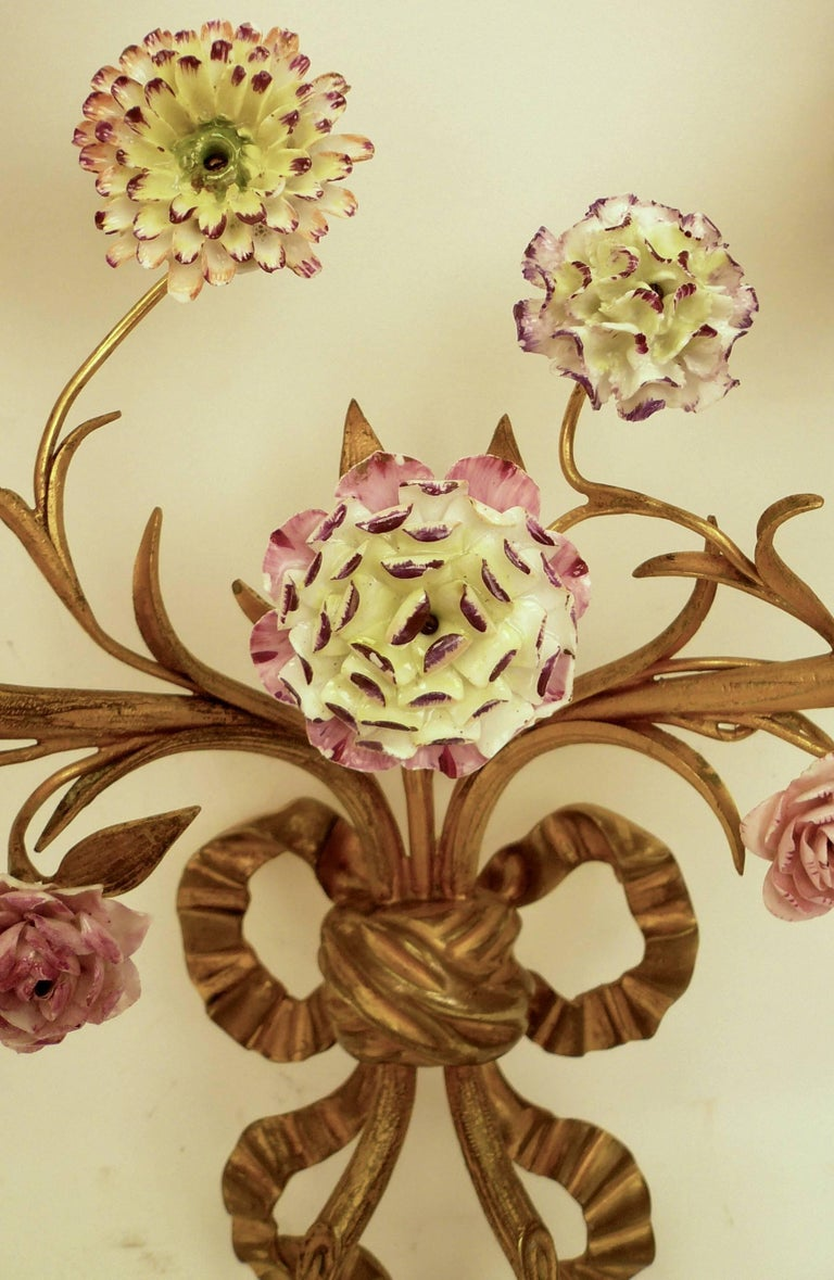 20th Century Pair of Louis XVI Style Gilt Bronze Sconces with Porcelain Flowers For Sale