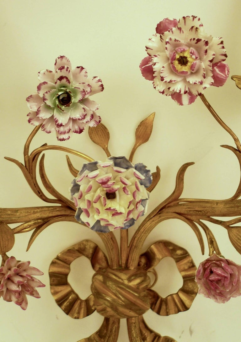 Pair of Louis XVI Style Gilt Bronze Sconces with Porcelain Flowers For Sale 1