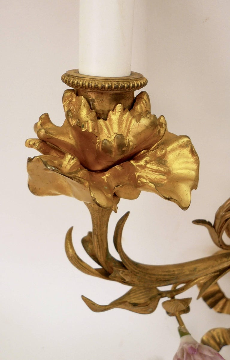 Pair of Louis XVI Style Gilt Bronze Sconces with Porcelain Flowers For Sale 3