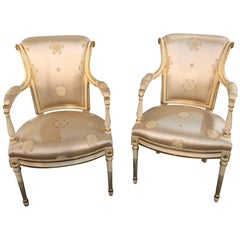 Pair Louis XVI Style Hollywood Regency Fauteuils in Scalamandre Silk Upholstery